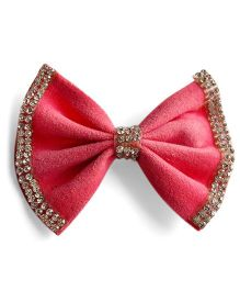 Milonee Bow Clip With Crystal Emblishments - Light Pink
