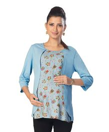 Kriti Three Fourth Sleeves Maternity Top Floral Print - Blue