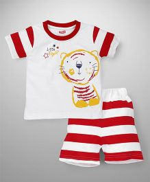 Babyhug Half Sleeves T-Shirt And Shorts Little Tiger Print - Red White