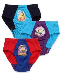 Mustang Briefs Minions Print Pack Of 3 - Red Blue Purple