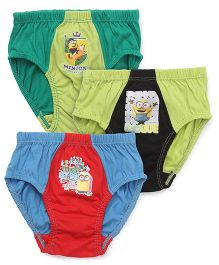 Mustang Briefs Minions Print Pack Of 3 - Red Green Blue