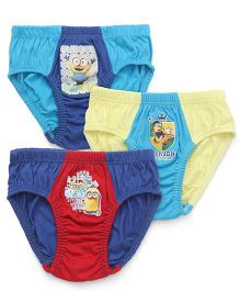 Mustang Briefs Minions Print Pack Of 3 - Blue Red Green