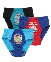 Mustang Briefs Garfield Print Set Of 3 - Red Blue Teal