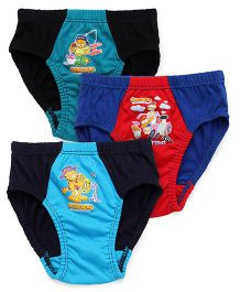 Mustang Briefs Garfield Print Pack Of 3 - Blue Red Black