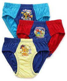 Mustang Briefs Garfield Print Pack Of 3 - Yellow Blue Red