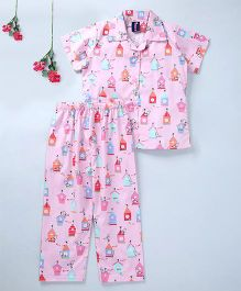 Enfance Core Printed Half Sleeves Night Suit - Pink