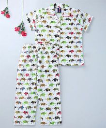 Enfance Core Elephant Print Night Suit - White