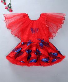 Enfance Party Wear Dress With Attached Cape - Red