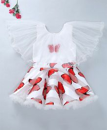 Enfance Party Wear Dress With Attached Cape - White