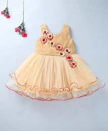 Enfance Sleeveless Party Wear Dress With Attached Flowers - Golden