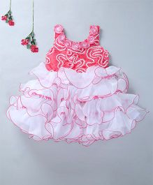 Enfance Frilled Party Wear Dress - Tomato Red
