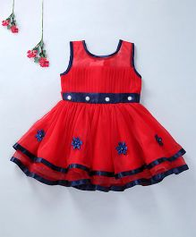 Enfance Beautiful Sleeveless Party Wear Dress - Red & Navy blue