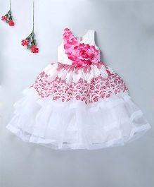 Enfance Sleeveless Party Wear Gown - Pink & White