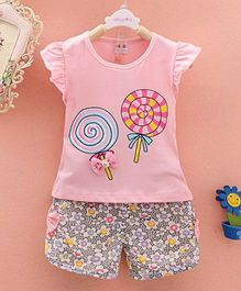 Pre Order - Tickles 4 U Lollypop Print Top With Bow Applique & Flower Print Shorts - Pink