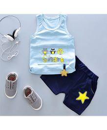 Pre Order - Tickles 4 U Owl Print Sleeveless Tee With Star Design & Shorts - Blue