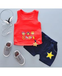 Pre Order - Tickles 4 U Owl Print Sleeveless Tee With Star Design & Shorts - Red