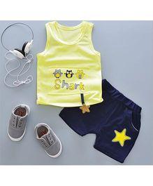 Pre Order - Tickles 4 U Owl Print Sleeveless Tee With Star Design & Shorts - Yellow