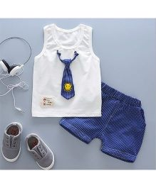 Pre Order - Tickles 4 U Tie Applique Sleeveless Tee With Shorts - White