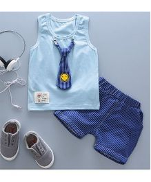 Pre Order - Tickles 4 U Tie Applique Sleeveless Tee With Shorts - Blue
