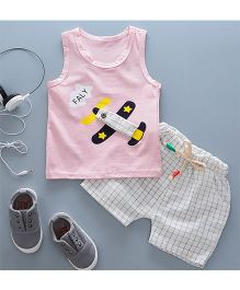 Pre Order - Tickles 4 U Aeroplane Design Tee With Checkered Shorts - Pink