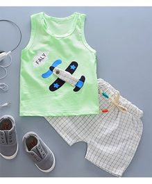 Pre Order - Tickles 4 U Aeroplane Design Tee With Checkered Shorts - Green