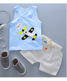 Pre Order - Tickles 4 U Aeroplane Design Tee With Checkered Shorts - Blue