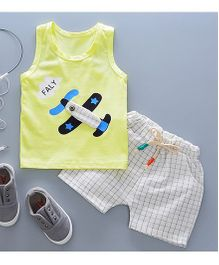 Pre Order - Tickles 4 U Aeroplane Design Tee With Checkered Shorts - Yellow