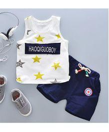 Pre Order - Tickles 4 U Star Print Vest & Shorts Set - Blue