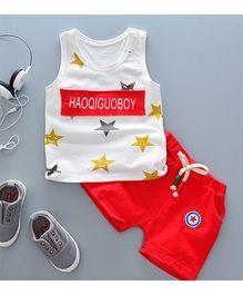Pre Order - Tickles 4 U Star Print Vest & Shorts Set - Red