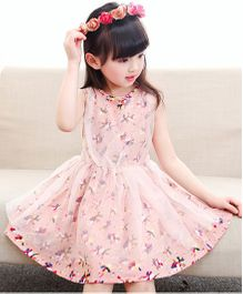 Pre Order - Tickles 4 U Floral Design Partywear Net Dress - Pink