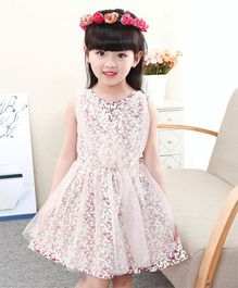 Pre Order - Tickles 4 U Floral Design Partywear Net Dress - White