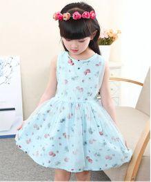 Pre Order - Tickles 4 U Floral Design Partywear Net Dress - Sea Green