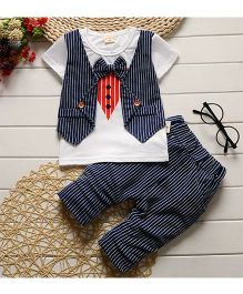 Pre Order - Tickles 4 U Striped Design Tee With Mock Waist Coat & Shorts - Blue