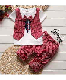 Pre Order - Tickles 4 U Striped Design Tee With Mock Waist Coat & Shorts - Red