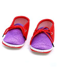Soft Tots Shining Booties - Red & Purple