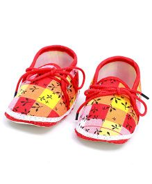 Soft Tots Little Leaf Booties - Red & Yellow
