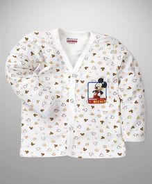 Bodycare Full Sleeves Vest Mickey Mouse Print - White