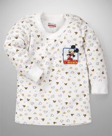 Bodycare Full Sleeve Vest Mickey Mouse Print - White