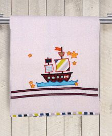 Princess & Her Bunny Boat Embroidered Bath Towel - White