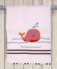 Princess & Her Bunny Whale Embroidered Bath Towel - White