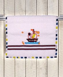Princess & Her Bunny Boat Embroidered Hand Towel - White