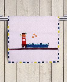 Princess & Her Bunny Lighthouse Embroidered Hand Towel - White