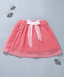 Many Frocks & Embroidered Skirt With Bow - Red