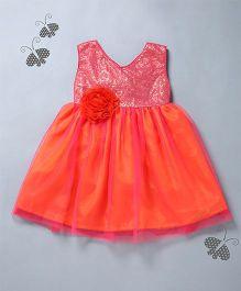 Many Frocks & Sequin Bodice Dress With Rose Design - Orange