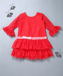 Many Frocks & Floral Design Party Dress - Red
