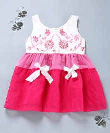 Many Frocks & Dual Tone Hand Emroidered Dress - Pink