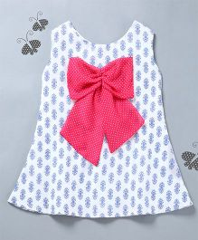 Many Frocks & Printed Dress With Big Bow Design - White & Pink