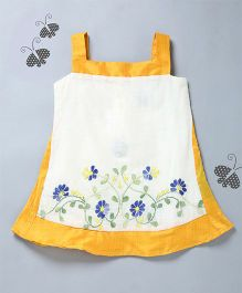 Many Frocks & Floral Embroidered Dress - Yellow