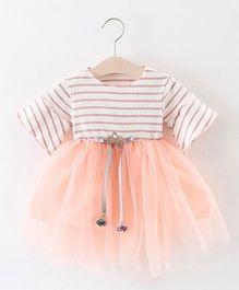 Pre Order - Awabox Semi Striped Flared Dress - Pink