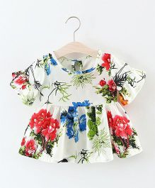 Pre Order - Awabox Floral Bell Sleeves Top - White